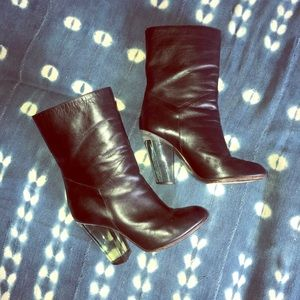 Marc Jacobs Lucite Heel Leather Boots 6